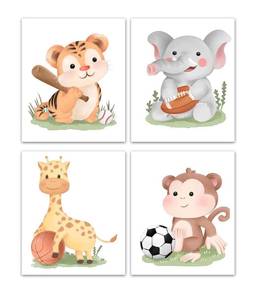 4 Baby Safari Sports Nursery Wall Art 8x10 | Kids Wall Prints | Unframed | Baby Boy Nursery Wall Decor | Baby Shower Wall Art | Playroom Wall Decor Art | Nursery Decor Wall Art Prints Animal Prints
