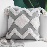 blue page Boho Neutral Decorative Pillows Cover 50X50 Inch, Woven Tufted Square Pillow Covers for Couch Sofa Bedroom Living Room, Indoor Outdoor Large Pillow Cases with Tassels, Grey