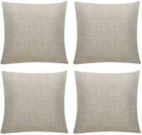 Pack 4, Linen Textured Throw Pillow Covers Set Cushion Case for Sofa Bedroom Car,18x18 Inch, Light Linen
