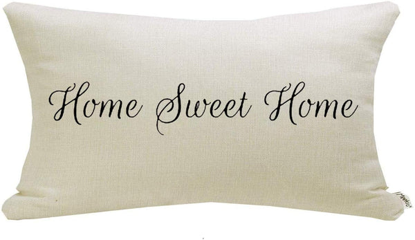 Meekio Farmhouse Pillow Covers with Home Sweet Home Quote 12 x 20 inch Farmhouse Rustic Décor Lumbar Pillow Covers with Saying Guest Room Décor