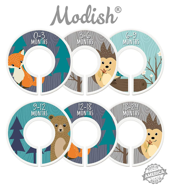 Modish Labels Baby Nursery Closet Dividers, Closet Organizers, Nursery Decor, Baby Boy, Woodland, Fox, Bear, Owl, Hedgehog