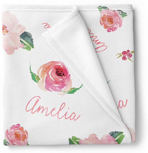 Personalized Fleece Baby Girl Blanket, Coral Pink Floral