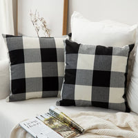 MIULEE Pack of 2 Retro Checkers Plaids Cotton Linen Soft Soild Decorative Square Throw Pillow Covers Home Decor Design Set Cushion Case for Sofa Bedroom Car 18x18 Inch 45x45 cm