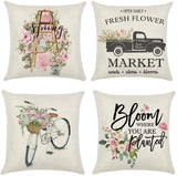 "MOLECOLE Spring Pillow Covers Electric car Flower Home Decorative Welcome Spring Vintage Floral Cotton Linen Cushion Throw Pillow Case 18"" x 18"" Set of 4"