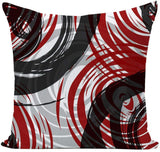 EZVING Set of 4 Throw Pillow Covers Modern Abstract Red Stripes Gray Black White Acrylic Bold Grey Decorative Pillow Cases Home Decor Square 18x18 Inches Pillowcases