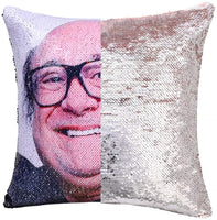 Nalosun Funny Sequin Throw Pillow Cover Danny DeVito Magic Reversible Mermaid Sequin Pillow Case Decorative Cushion Cover Glitter Accent Pillow 16x16 Inches (1:Champaign Gold)