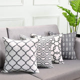 Fascidorm Set of 4 Throw Pillow Covers Grey Throw Pillow Case Arrow Quatrefoil Accent Geometric Pillow Cover Cushion Cover for Sofa Bed Chair Car 18 x 18 Inch