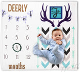 Intuitive Labels Large Baby Boy Milestone Blanket Premium Thick Flannel - Neutral Plaid Background Monthly Photography – Personalized Newborn Baby Shower - Letters, Frame, Wreath Prop - Deer Woodland
