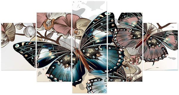 FUNHUA Butterfly Flower Poster HD Printed on Canvas for Home Kitchen Bedroom Office Walls Decor, No Framed