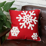 Elife Soft Square Christmas Snowflake Home Decorative Canvas Cotton Embroidery Throw Pillow Covers 18x18 Cushion Covers Pillowcases for Sofa Bed Chair (1 Pair, Red)