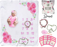 Baby Monthly Milestone Blanket Girl Soft Large Backdrop Blankets for Girls Newborn Photography Premium Fleece Bonus Floral Wreath & Garland Best Shower Gift for New Mom Memory Templates (Pink Text)