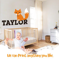 "Custom Name Fox Animal Series - Baby Boy Wall Decal Nursery for Home Bedroom Children (IJ11) (Wide 22"" x 13"" Height)"