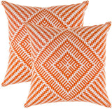 TreeWool, Pack of 2, Throw Pillow Cover Kaleidoscope Accent 100% Cotton Decorative Square Cushion Cases (22 x 22 Inches / 55 x 55 cm; Orange & White)