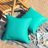 Phantoscope Throw Pillow Cover Outdoor Waterproof Decorative Square Cushion Covers Water Resistant Pillowcase Shell for Couch Tent Park Pack of 2, Turquoise 18 x 18 inches 45 x 45 cm