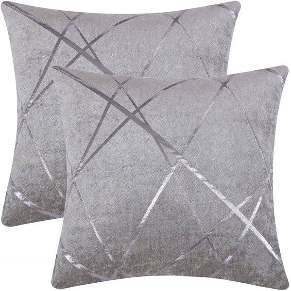GIGIZAZA Decorative Couch Pillow Covers 18 x 18,Sofa Thick Cushion Pillow Covers,Square Grey Luxury Pillows 2 Set (Silver Grey, 18 x 18)