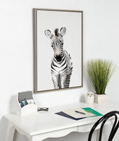 Kate and Laurel Sylvie Baby Zebra Framed Canvas by Amy Peterson, 23x33, Gray