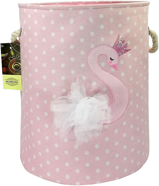 HUNRUNG Large Laundry Hamper,Cartoon Organizer Bin for Baby Nursery,Toys,Laundry,Baby Clothing,Gift Baskets (Swan)