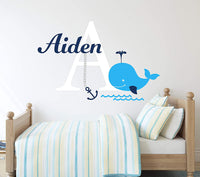 "Personalized Whale Name Wall Decal - Nautical Theme Decal - Nursery Wall Decals - Nautical Decor - Baby Anchor Decor Art Vinyl Sticker (24""W x 16""H)"