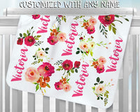 Oliver and Olivia Apparel Personalized Baby Blanket Baby Girl Blanket Floral 17A Blanket