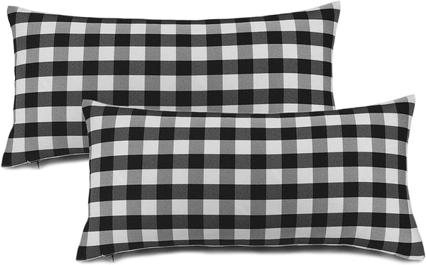 "Aiking Home (2-Pack) Picnic Checkered Pattern Home Decorative Throw Pillow Covers, 100% Polyester, 14""x26"", Black/White"