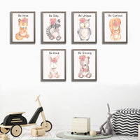 ETIUC Adorable Jungle Baby Animals Nursery Wall Art Prints Motivational Quotes Cute Watercolor Safari Animals Unframed Kids Room Wall Decor Playroom Boys & Girls Room Bedroom Set of 6 Posters 8x10in