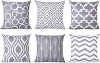 Top Finel Square Decorative Throw Pillow Covers Soft Canvas Outdoor Cushion Covers 18 X 18 for Sofa Bedroom, Set of 6, Grey