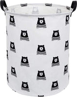 CLOCOR Large Storage Basket,Canvas Fabric Waterproof Storage Bin Collapsible Laundry Hamper for Home,Kids,Toy Organizer (Bear)