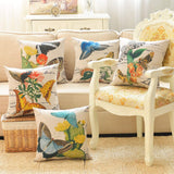 sykting Butterfly Pillow Covers Cotton Linen Farmhouse Decorative Pillow Covers 18x18 inch Set of 4 for Couch Bed Chair
