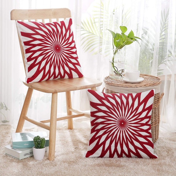 Deconovo Christmas Cushion Cover Soft Cotton Canvas Embroidered Pillow Cover Sun Flower Floral Patterned Cushion Covers for Decoration Red and White 18x18 Set of 2 No Pillow Insert