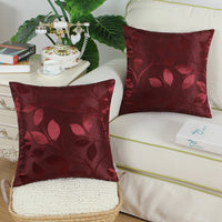 CaliTime Pack of 2 Throw Pillow Covers Cases for Couch Sofa Home Decor Shining & Dull Contrast Vibrant Growing Leaves 18 X 18 Inches Burgundy