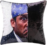 cygnus The Office Prison Mike Flip Sequin Pillow Cover,Magic Reversible Throw Pillow Case Change Color Decorative Pillowcase 16x16 inches (Black Sequin)