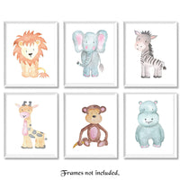 Baby Lion, Elephant, Giraffe, Monkey, Hippo, Zebra Poster Prints, Set of 6 (8x10) Unframed Photos, Wall Art Decor Under 20 for Home, Shop, Nursery, Student, Babies, Teacher, Earth & Safari Animals Fan