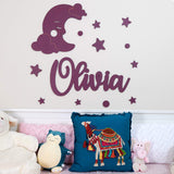 Custom Name Sign for Nursery Decor w/Moon, Wooden Name Letters for Baby Room Decor for Wall |18 Colors & 4 Fonts | Above a Crib, Baby Shower Decoration, Personalized Baby Gifts for Boy, Girls - 24""