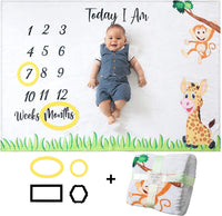 Odoxia Baby Monthly Milestone Blanket | for Boy or Girl, Unisex | Month Blanket Baby for Pictures | Jungle Safari, Giraffe & Monkey | Personalized Shower Gifts New Moms | Track Age & Growth