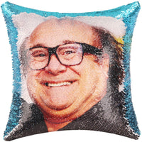Merrycolor Funny Sequin Throw Pillow Cover Danny DeVito Magic Reversible Mermaid Sequin Pillow Case Decorative Cushion Cover Glitter Accent Pillow 16x16 Inches(Champaign Gold)