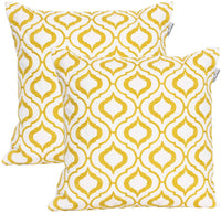 ACCENTHOME 100% Cotton Geo Theme Crewel Embroidery Throw Pillow Cover in 18x18 (45x45cm) for Living Room, Sofa, Couch, Outdoor in Mustard Color
