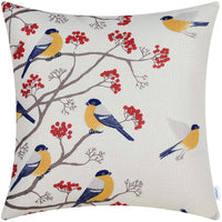 CaliTime Canvas Throw Pillow Cover Case for Couch Sofa Home Decoration Chickadees Birds with Red Floral Tree Branches 18 X 18 Inches Navy Birds