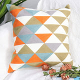 Zwish 2 Pack Embroidered Throw Pillow Cover Home Decorative Sofa Pillow Case for Living Room Cushion Covers Hidden Zipper 18 x 18 Inch Triangles