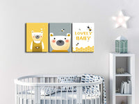 "TikeeArt Cute Cartoon Yellow Bear & Honey Bee Baby Canvas Prints Wall Art Painting Artwork Pictures for Baby Child Room Bedroom Nursery Decor, Stretched Framed Ready to Hang - 12""x16""x3 Panels"