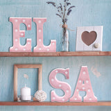 "Barnyard Designs Metal Marquee Letter A Light Up Wall Initial Nursery Letter, Home and Event Decoration 9"" (Baby Pink)"