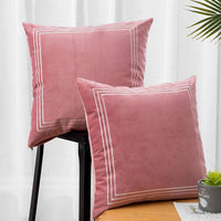 AnnTXL Pack of 2 Velvet Decorative Square Throw Pillow Covers Cushion Case for Sofa Living Room 18 x 18 Inch (Pink)