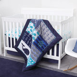 Nautica Kids Set Sail Nautical/Whale/Anchor Super Soft Double Sided Baby Blanket, Navy, Aqua, White
