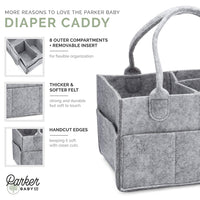 Parker Baby Diaper Caddy - Nursery Storage Bin and Car Organizer for Diapers and Baby Wipes