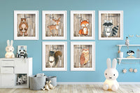 Woodland Nursery Decor for Boys - Animal Pictures Wall Art - Baby Room Animal Prints on Shiplap - Bear Deer Fox Raccoon Owl Squirrel Decor - SET OF 6-8x10 - UNFRAMED