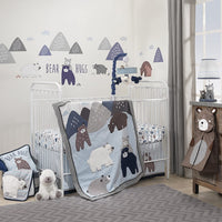 Lambs & Ivy Signature Montana 6-Piece Baby Crib Bedding Set - Blue,Grey,Brown Bears and Mountains