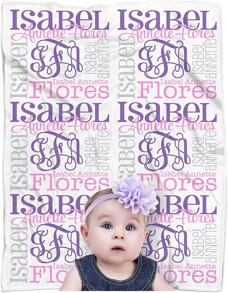 "CarefreeTees Personalized Baby Name Blanket Monogrammed (Vine Monogram - Ballerina 30"" x 40"")"