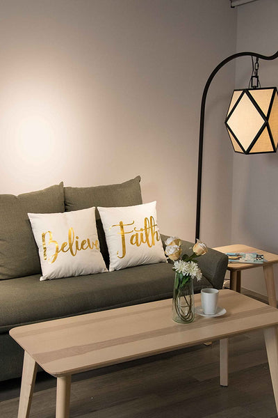 Juvale Throw Pillow Covers - 4-Pack Decorative Couch Throw Pillow Cases for Girls and Woman, White Covers with Gold Foil Lettering Design Cushion Covers for Modern Home Décor, 17 x 17 Inches