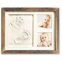 Baby Hand and Footprint Kit in Rustic Farmhouse Frame, a Baby Registry Must Have - Baby Handprint Kit, Baby Footprint Kit, Baby Nursery Decor (Gray)
