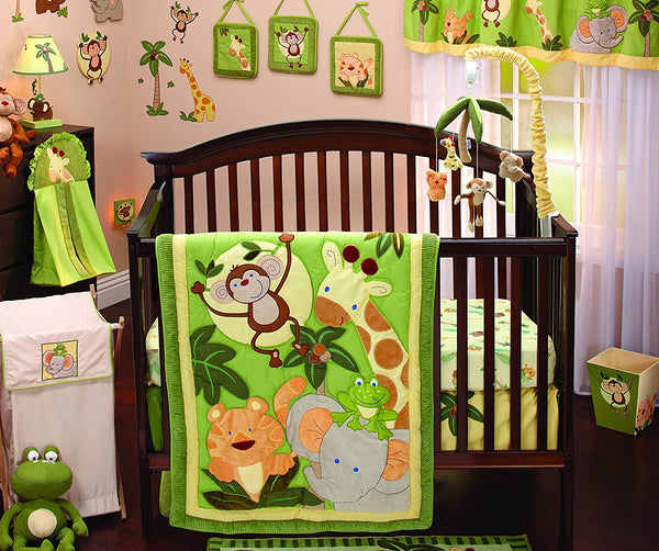 NoJo Jungle Babies 9 Piece Nursery Crib Bedding Set, Green/Yellow/Tan/Brown