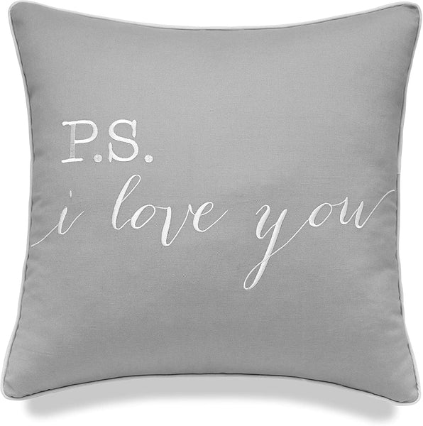 "YugTex Pillowcase Love sentiments Decorative Lumbar Accent Throw Pillow Cover (18""x18"", Smoke(P.S I Love))"